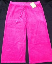 NWT Juicy Couture New Ladies Large Pink Crop Leg Cotton Tracksuit Pants UK 12/14