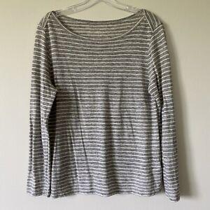 Medium-J-CREW-Womans-Gray-Striped-Linen-Boatneck-Tee-Top