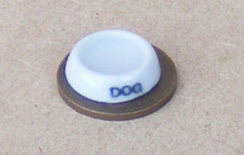 1:12 Scale White Ceramic Dog Bowl Of Water Dolls House Pet Garden Accessory