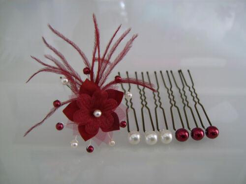 Epingle pics Cheveux accessoire Mariée//Mariage Fleur Blanc cassé//Bordeaux perle