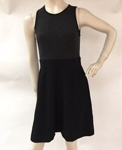 Ann-Taylor-LOFT-Womens-Sz-6-Black-Gray-Sleeveless-Knit-Bodice-w-Pockets-Dress