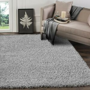 Very Large Silver Grey Shaggy Pile Rugs