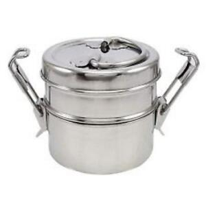2-TIER-Stainless-Steel-Lunch-Box-Tiffin-Round-Food-Container-Carrier-Set