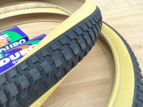 """Neuf Paire de 20/"""" BMX Vélo Gumwall Snake Belly peau Mur Pneus /& Tubes 20X1.75"""