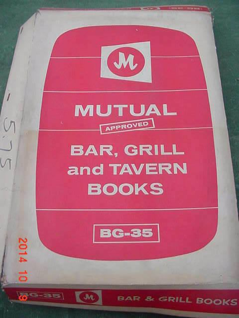 Vintage Mutual Approved BG-35 Bar Grill & Tavern Books Ideal for Income Tax Prep