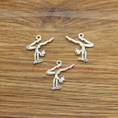 25 Yoga Charm Pendant Mediation OM Human Poses Charm Antique Silver 22x22 128