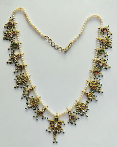 Rare vintage antique 20k Gold jewelry gemstones Basra pearl beads