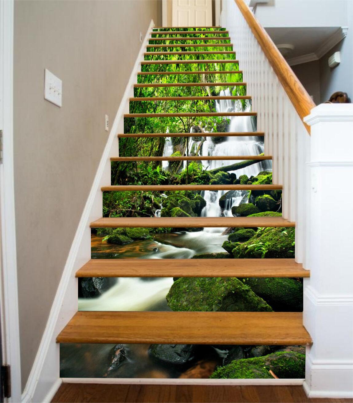 3D Wald Natur 8360 Stair Risers Dekoration Fototapete Vinyl Aufkleber Tapete DE