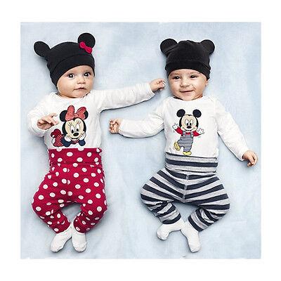 Newborn Baby Girl Boy Top Bodysuit Romper+Pants+Cap Hat Kids Child Clothing Set