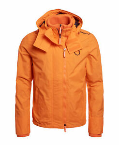 New-Mens-Superdry-Hooded-Technical-Pop-Zip-Sd-Windcheater-Nu-Orange