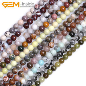 Wholesale-Natural-Gemstones-6mm-Round-Spacer-Beads-For-Jewellery-Making-15-034-UK