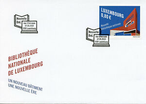 Luxembourg-2019-FDC-Nouvelle-Bibliotheque-Nationale-1-V-Set-Housse-Architecture-timbres