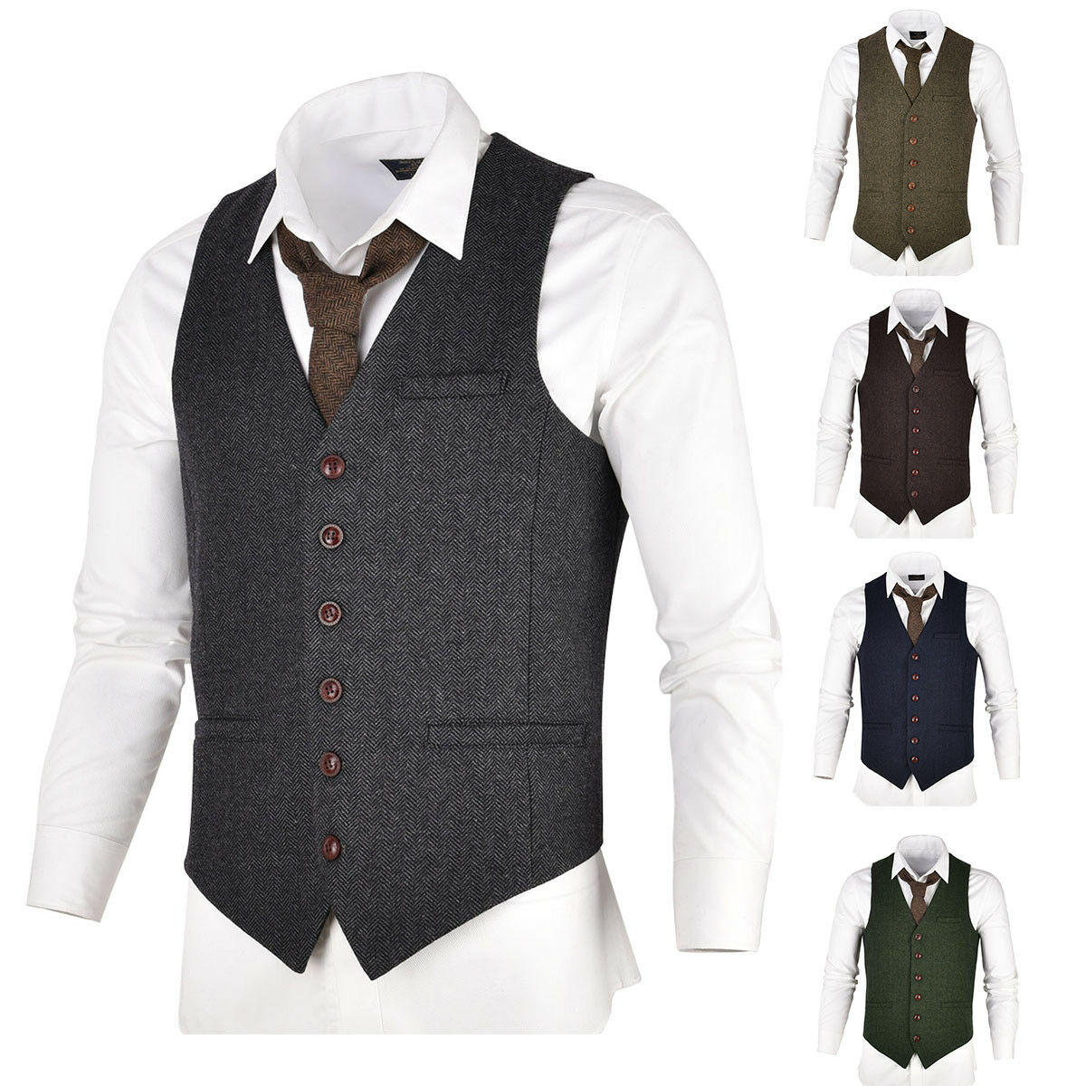 VOBOOM Mens Wool Blend Suit Waistcoat Vest Gilet Slim Fit Business Leisure Vests