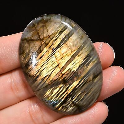 Multi Fire Labradorite Cabochon Loose Gemstone 37.65 Carats Oval Shape LB60 34X19X7 mm Labradorite Best For Wire Wrap Jewelry