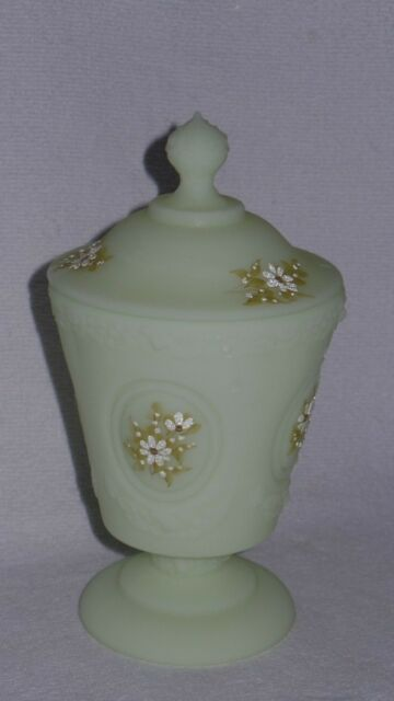 Fenton Rose Pattern Daisies on Custard Satin Candy Urn Dish Hand Painted Signed