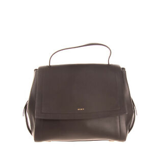 RRP-375-DKNY-Leather-Satchel-Bag-Black-Top-Handle-Magnetic-Flap-Closure