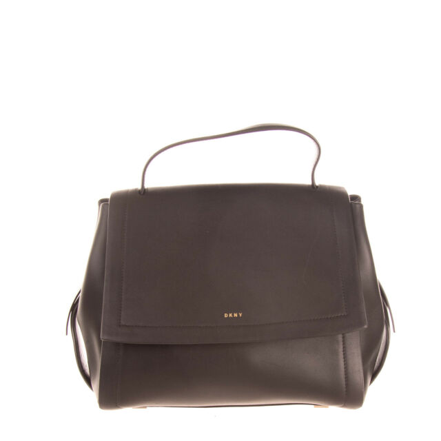 RRP €375 DKNY Leather Satchel Bag Black Top Handle Magnetic Flap Closure