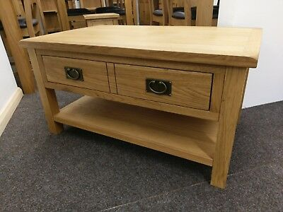 Baysdale Rustic Oak Coffee Table With Drawers And Shelf 90cm 55cm