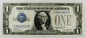 1928-USA-ein-Dollar-Silber-Zertifikat-I-A-Block-Banknote-Lustig-Back-Bill