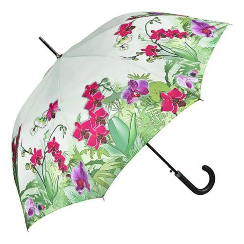 Regenschirm Automatik Damen Mode Design Blumen pink grün Motiv  Orchideen