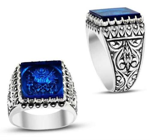 Turco Joyería de plata esterlina 925 Azul Zafiro para Hombre Anillo de hombre Us All si̇ze 965 5