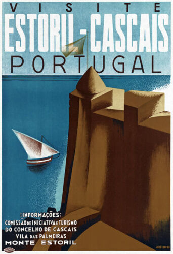 Ta41 Vintage visita estoril-cascais Portugal portugués viajar Cartel volver a imprimir A4