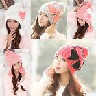 Cute Knitted Beanie Hat Women Girl Lovely Winter Warm Flower Ear Beanie Hat Cap