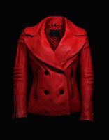 Belstaff Giubbotto Donna Pelle Giacca chiodo Rosso Women Biker Leather Jacket