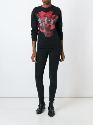 /% 100 AUTHENTIC woman Rose Print Sweatshirt  Black  M C Q