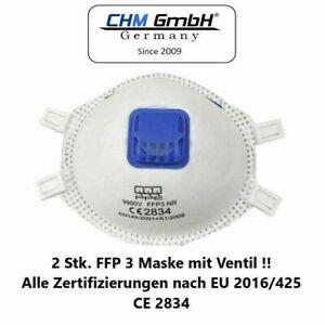 CHM GmbH 2 Stück FFP 3 Mundschutz Maske mit Ventil Gesichtsmaske Top Qualität !!