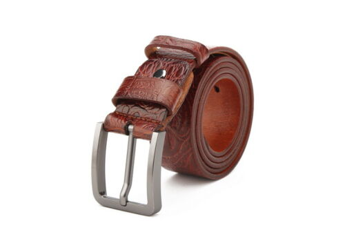Men/'s 100/% Genuine Leather Top Quality Craft Pattern Casual Fashion Brown Belt