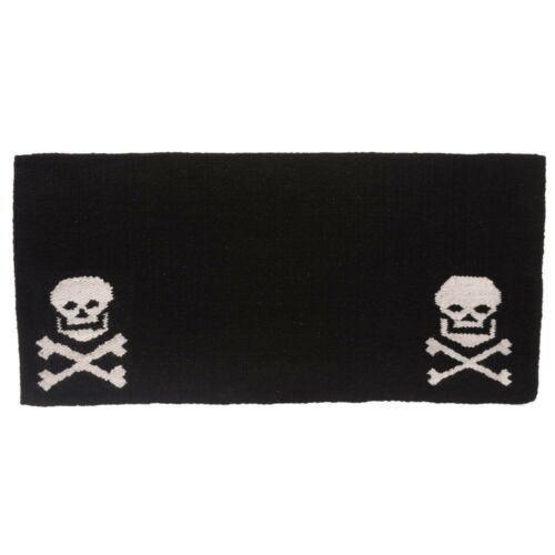 """1 Laine Selle Western Couverture Avec Pirate Crânes 36/"""" X 34/"""" Noir//Blanc Tough"""