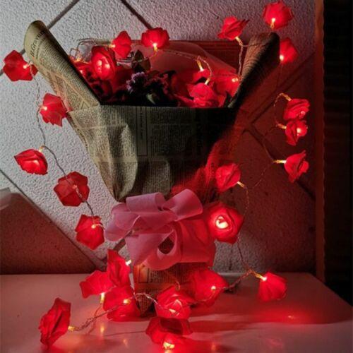 Valentine/'s Day 1.5M LED Rose String Lights Holiday Wedding Decoration Lamps