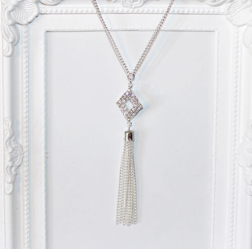 Flapper//Gatsby//1920/'s long silver necklace with diamanté pendant and tassel