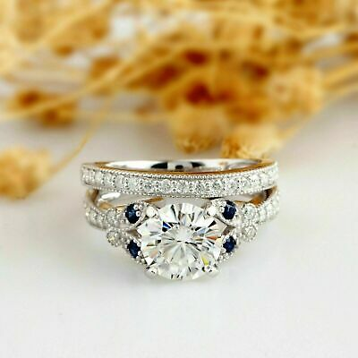 Certified 2Ct Round Near White Moissanite Engagement Ring 14k Solid White Gold