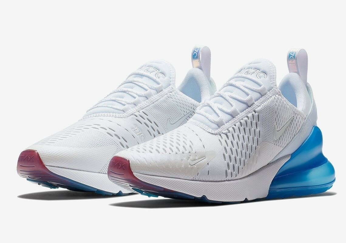Nike Air Max 270 AQ7982-100 White Photo bluee Mesh Running shoes Men's Size 10.5