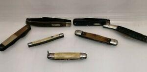 Vintage Folding Pocket Knifes knives Lot 7 Imperial Schrade Old Timer 3 Blade
