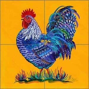 Ceramic Tile Mural Backsplash Libby Southwest Rooster Art SLA037