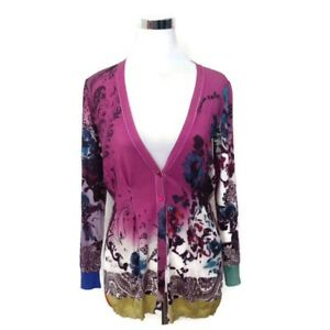 ETRO-Cardigan-Sweater-44-Purple-Multi-Color-Abstract-Printed-Women-039-s-Long-Sleeve
