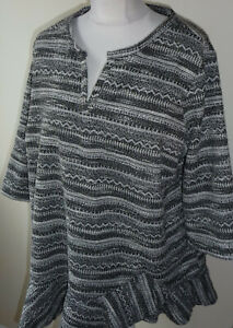 NEXT-Black-Grey-Tunic-Top-Size-20-Fluted-Frill-Hem-3-4-Sleeves-Cutout-V-Neck-New