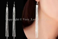 Silver Rhinestone Long Drop Earrings Diamante Bridal Party Tel Dangle Crystal