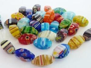 25-pce-Vibrant-Mix-Colour-Oval-Millefiori-Glass-Beads-15mm-x-8mm