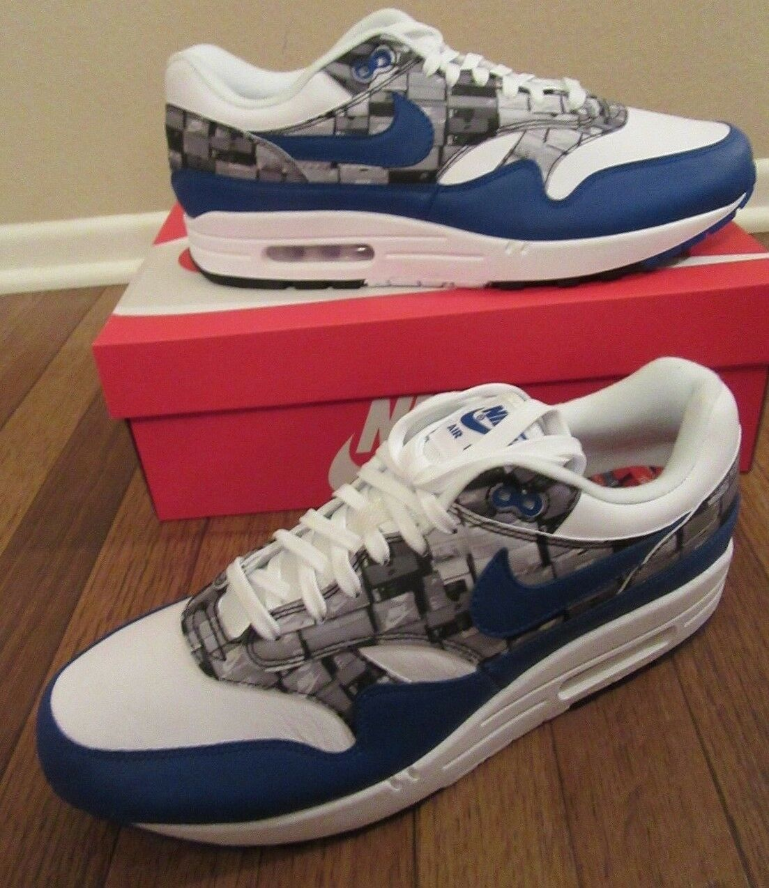 Nike Air Max 1 Print Size 11.5 White Game Royal Grey AQ0927 100 We Love Nike NIB