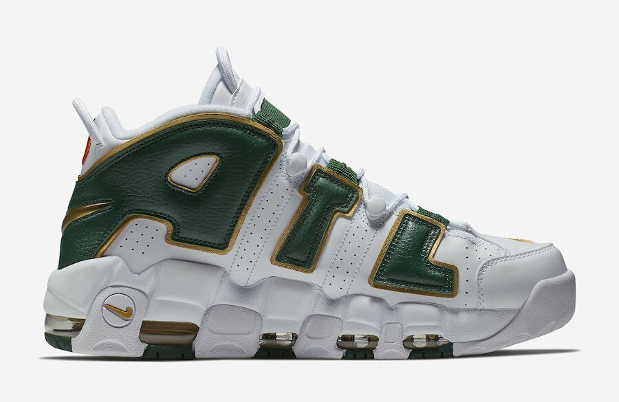 Nike Air More Uptempo ATL QS White Green gold Size 10. AJ3139-100 Jordan Pippen
