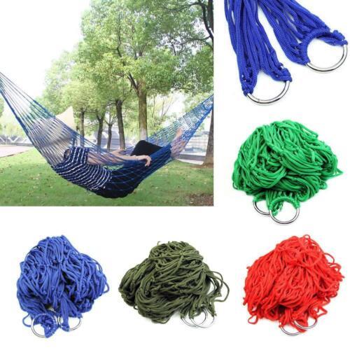 Portable Garden Hammock Mesh Net Hang Rope Travel Camping Outdoor Swing Bed #Q