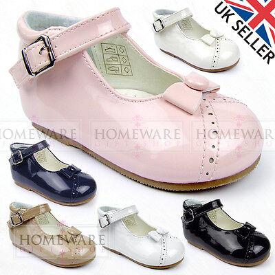 Utile Baby Ragazze Bow Scarpe Stile Spagnolo Vernice Rosa Bianco Blu Navy Cammello Tg 2-6-