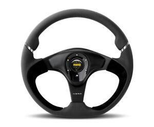 MOMO-Steering-Wheel-Nero-Black-Leather-Black-Glossy-Spokes-350mm-New