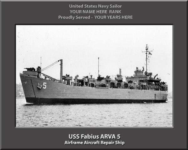 USS Fabius ARVA 5 Personalized Canvas Canvas Canvas Ship Photo Print Navy Veteran Gift b444b9