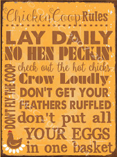 Chicken Coop Rules Metal Sign, Humor, Poultry, Farm Decor, Country Decor