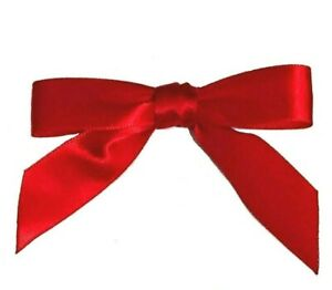 10-x-RED-Bows-7cm-15mm-Satin-Ready-Made-Ribbon-Bows-Christmas-Craft-Gift
